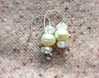 Delicate Moonstone Earrings with freshwater pearls - hand hammered Sterling Silver earwires - white pale yellow green - lightly oxidized