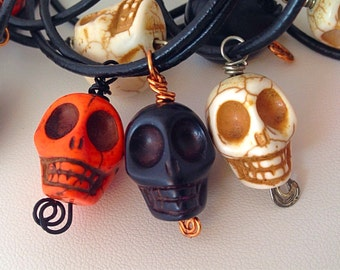 10 Pack Skull Necklace Halloween Party Favor - Handwired - 2mm black leather cord - favors Tween Teen Skull Skulls orange white black goth