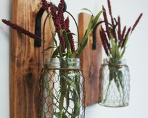 Chicken Wire Mason jar wall decor rustic decor kitchen decor home decor on stained wood