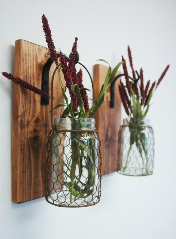 Wire Kitchen Wall Decor : Chicken wire mason jar farmhouse decor by pineknobsandcrickets