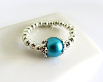 Teal Glass Pearl Silver Stretch Ring