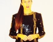 Black + Gold vintage 80s sequin SILK power top ENCRUSTED  heavily SEQUINED + beaded 80's Cocktail Party Trophy top