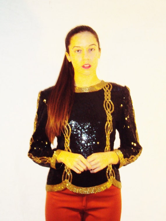 vintage 80s sequin top / black + gold / allover sequins / s,m