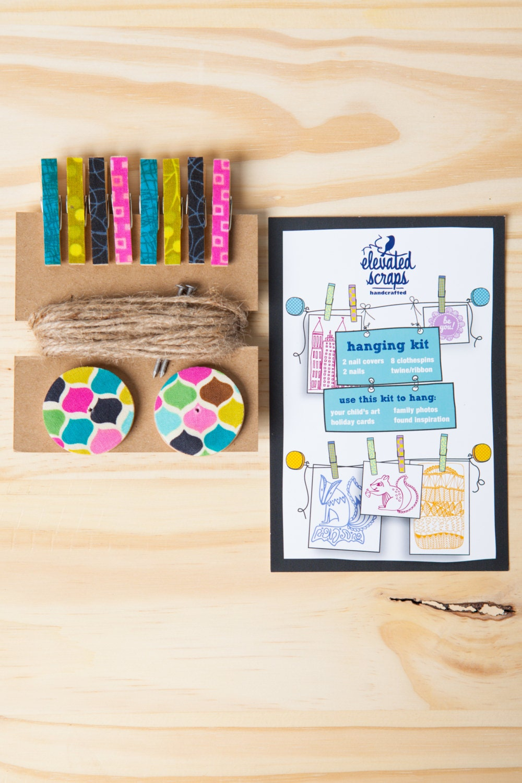 Art Hanging Kit ~ Mini Clothespins ~ Jute twine ~ Blues, Pinks, and Greens