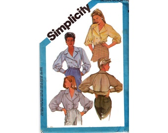 "Double Breasted BLOUSE with Notched Collar Epaulettes UNCUT Vintage 80s Sewing Pattern Size 12 Bust  34"" (87 cm) Simplicity 6549 S"
