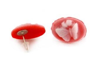 Red Butterfly Post Earrings