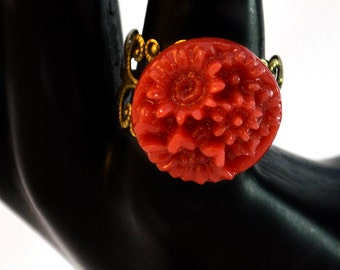Red and Bronze Flower Fashion Ring
