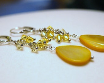 """Bright Yellow Mother of Pearl Shell Tear Drops with Yellow Swarovski Crystals Sterling Silver Dangle Earrings--""""Drops of Sunshine"""""""
