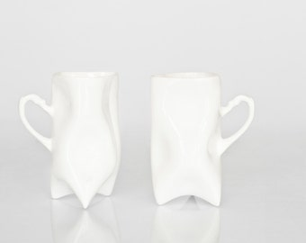 Porcelain cups set of white , ceramic cups handbuilt for coffee or tea by Endesign