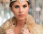Great Gatsby Headband, Roaring 20s Headband Flapper Fascinator Bridal Hair Piece, Weddin Beaded Headband, Costume Flapper Headdress