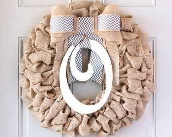 Front Door Wreath, Summer Wreath, Monogram Wreath, Fall Wreath, Burlap Wreath, Front Door Wreaths, Year Round Wreath, Outdoor Wreath