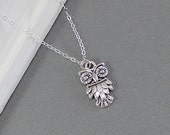 Owl Necklace, Sterling Silver Chain, Owl Jewelry S211W