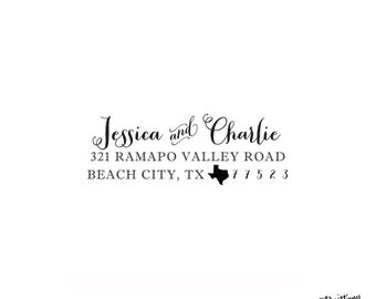 "State Pride Personalized Custom Return Address Rubber Stamp or Self Inking - 2.5x1"" - Texas Stamp"