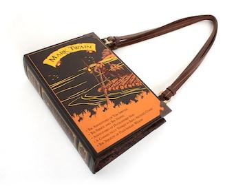 Mark Twain Book Purse - Decadence Bookpurse handbag or brown clutch -