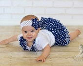 Navy Polka Dot Baby Bloomer Ruffle Diaper Cover Pants Panty