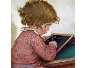 Child Studies Card - Girl Writes Her A B C's - Jessie Willcox Smith