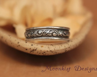 Wide Sterling Silver Tendril and Vine Wedding Band - Wide Floral Pattern Band - Sterling Silver Floral Ring - Promise Band - Commitment Band