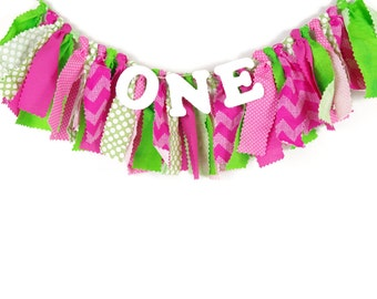 Watermelon Party - Sweet Celebration - Girl's Birthday Party - Rag Banner - Photography Prop