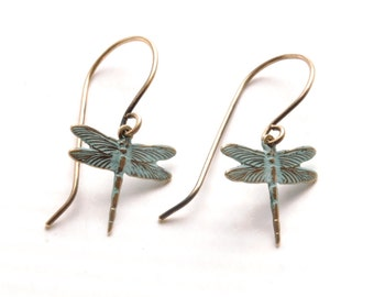 Dragonfly Earrings Verdigris Earrings Aqua Turquoise Earrings Brass Dangle Earrings Boho Earrings Art Nouveau Jewelry Victorian Curiosities