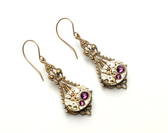 FEBRUARY Steampunk Earrings AMETHYST SteamPunk Vintage Watch Earrings Antique Brass Victorian Steampunk Jewelry by Victorian Curiosities