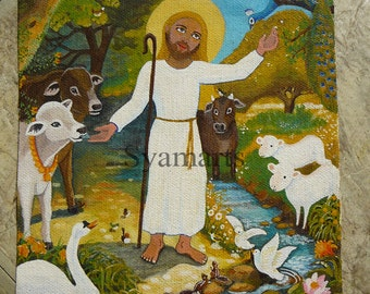 Love attracts love, small painting on organic canvas, animal love, nursery decor, saint Jesus cows swans doves creatures gathered around him
