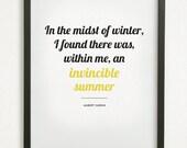 SALE // 5X7 Graphic Design Typography Print - Invincible Summer - Albert Camus Quote