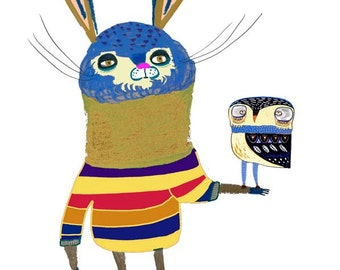 Rabbit and Owl. Print by Illustrator Ashley Percival. Illustration print, art print.