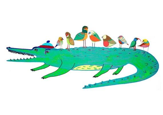 Nursery wall art, childrens room decor,  kids illustration poster, Crocodile print. ''Crocodile and Birds''.