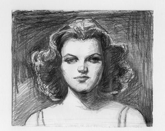original drawing - Film Noir Starlet - femme fatale, sultry, old Hollywood glamour, 1940s, actress, portrait, drawing, black and white art