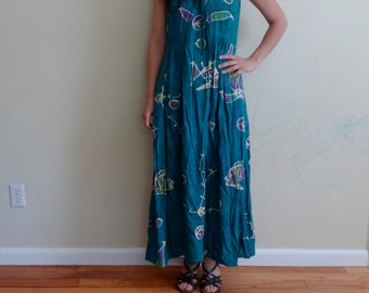 Vintage Boho Hippie Batik Festival Fish Dress