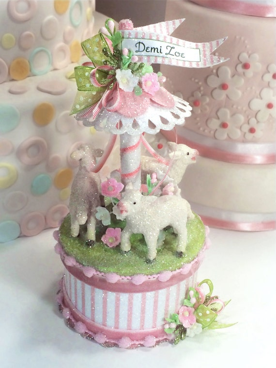 Baby Lamb Cake Topper Keepsake Box Baby Shower Topper