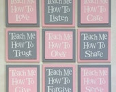 Teach Me How To Love, Listen, Care, Trust, Obey, Share, Give, Forgive, Serve.  Set of 9 Wood Plaques Baby Nursery Wall Decor - Pink and Gray