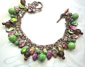 Leafy woodland bracelet,  pink, green, chrysoprase