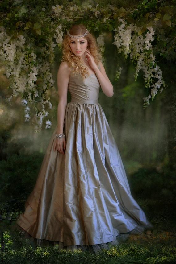 Platinum Silk Shantung Simple Ball Gown Wedding Dress