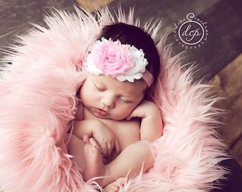 Baby Flower Headband- Baby Headband- Newborn Headband- White and Light Pink Shabby Flowers on Soft Light Pink Elastic Headband