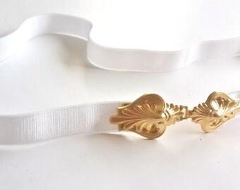 White belt, Bridal sash, Waist Belt, Ribbon belt, Gold Belt, Wedding Belt, Elastic Belt, Skinny Belt, Wedding Dress Belt, Wedding Accessori