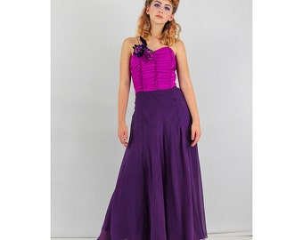 1930s evening gown / 30s dress / Vintage silk chiffon /  Deep purple and fuchsia / Maxi dress XS
