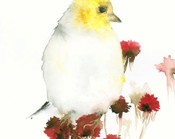 Bird Watercolor Print Yellow Bird and Red Flowers