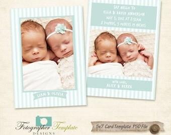 5x7 Birth Announcement flat card, psd template, Baby Newborn - AB011