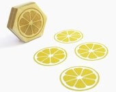 Lemon Citrus Circle Stamp, Hexagon Wood Mounted Rubber Stamp