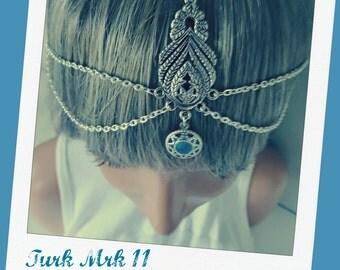 Turquoise Chain Head Piece Head Jewelry Burning Man Festival Headchain Boho Headpiece Gypsy Headpiece Halo Headdress Turk Mrk 11 - Turq