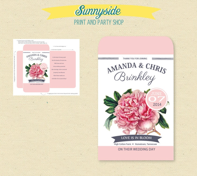 Printable Pink Peony Seed Packet Favor DIY Bridal Shower