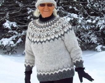 Handknit, Elegant Shades of Gray & Brown, Icelandic  Lopi, Unisex Sweater, Size: Small-Medium