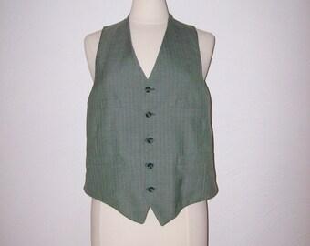 1970s Mens Vest Vintage 70s Pinstripe Vest - S/M