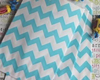 50 Aqua Blue Chevron Candy Bags, Aqua Wedding Candy Bags, Aqua Chevron Party Favor Bags, Aqua Popcorn Bags, Aqua Gift Bags, Aqua Candy Bags