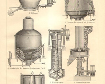 1910 Vintage Print of of Sugar Production, Sugar Refinery