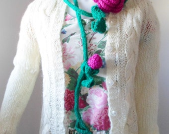 Crochet Rose Lariat Necklace or Scarf with Dark Pink Rose and Rosebuds in Wool
