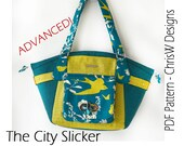 """PDF purse pattern for Handbag - """"The City Slicker"""", designer handbag sewing pattern"""