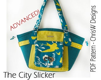 "PDF purse pattern for Handbag - ""The City Slicker"", designer handbag sewing pattern"