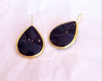 black earrings - black onyx earrings - black and gold earrings  - black drop earrings - black stone earrings - black teardrop earrings